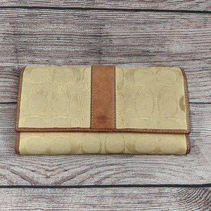 COACH Yellow Tan Tri-Fold Wallet Classic C